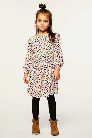 jurk Dory met all over print lichtroze/zwart/geel/blauw