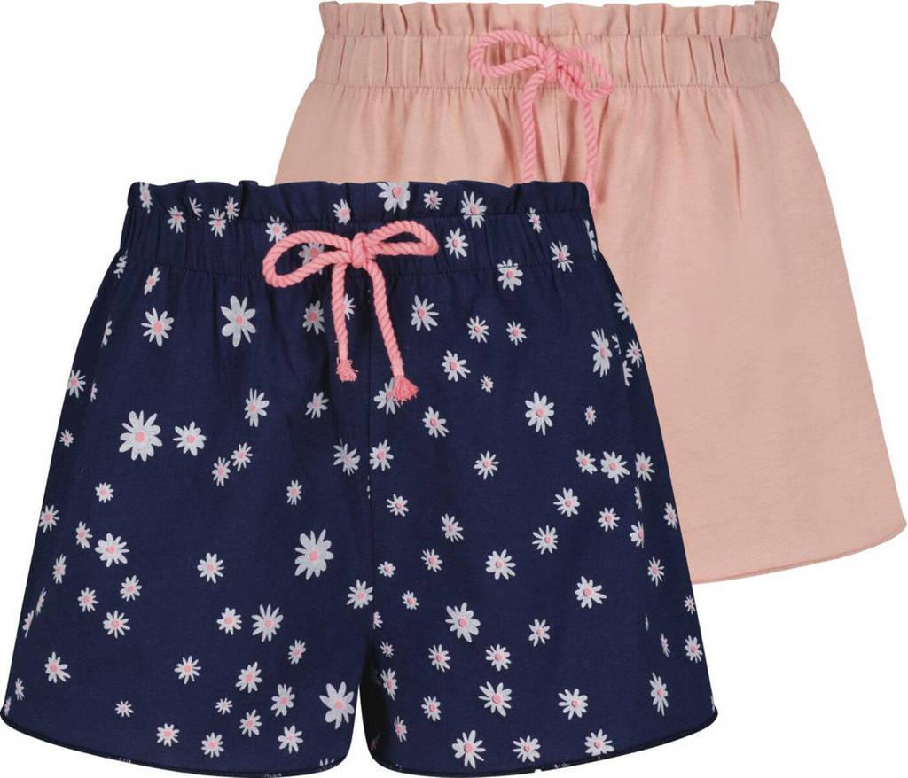 HEMA korte broek - set van 2 blauw/roze, Donkerblauw/roze