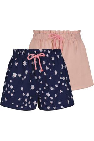 korte broek - set van 2 blauw/roze