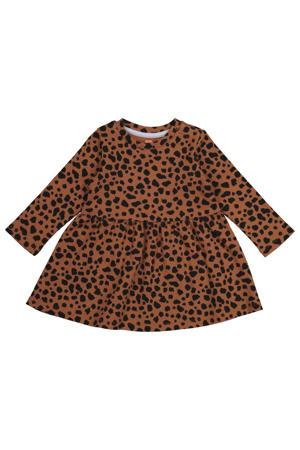 baby jurk met panterprint en plooien bruin/zwart