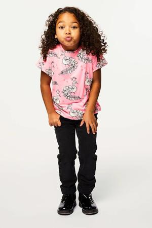 T-shirt met all over print roze/wit/zwart
