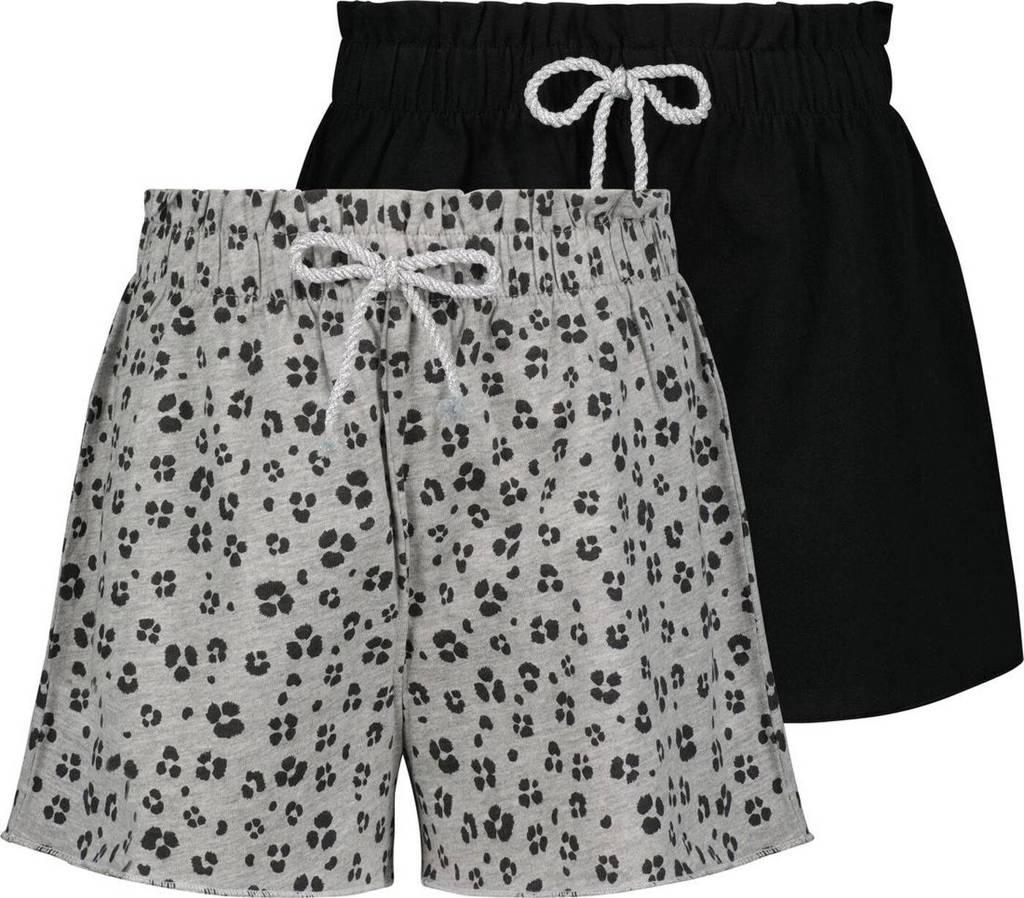 HEMA korte broek - set van 2 grijs/zwart, Grijs/zwart