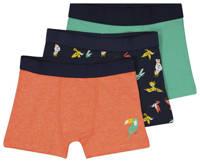 HEMA   boxershort - set van 3 oranje/donkerblauw/groen, Oranje/donkerblauw/groen