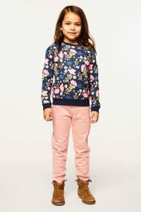 HEMA gebloemde sweater Rory donkerblauw/roze/blauw, Donkerblauw/roze/blauw