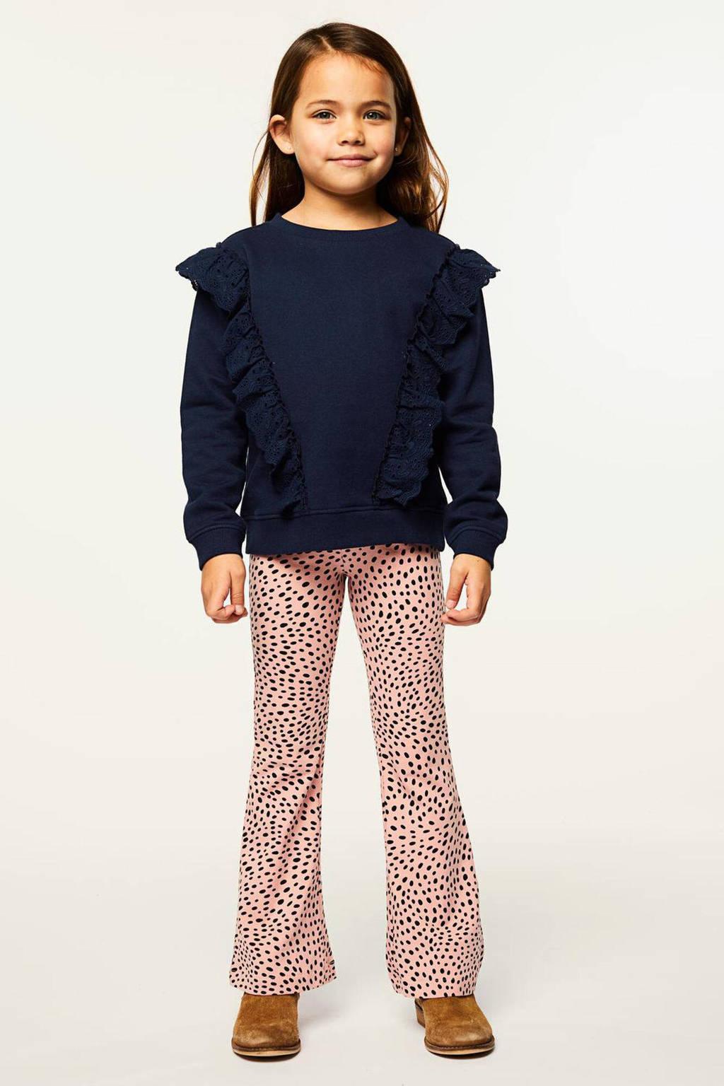 HEMA flared broek met stippen roze/zwart, Roze/zwart