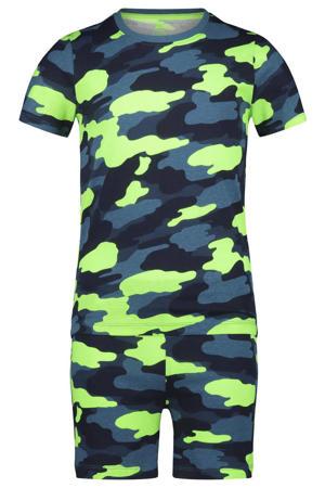 shortama met camouflageprint blauw/neon groen