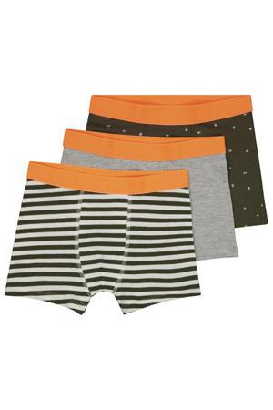 boxershort - set van 3 groen/grijs