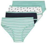 HEMA slip - set van 4 groen/wit/zwart, Mintgroen/wit/zwart