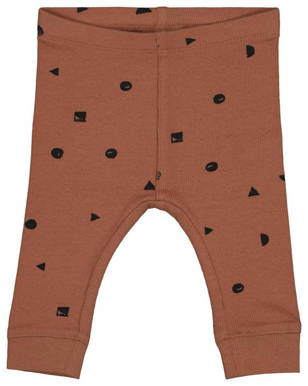HEMA newborn baby slim fit broek met all over print bruin/zwart, Bruin/zwart