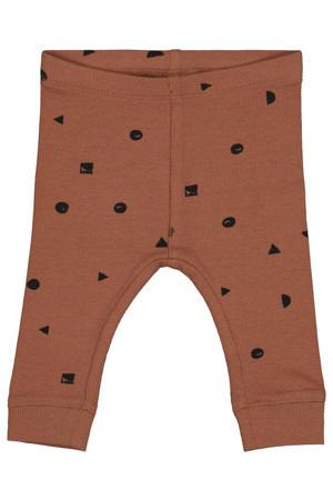 newborn baby slim fit broek met all over print bruin/zwart