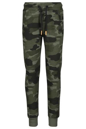 regular fit joggingbroek Pelle  met camouflageprint groen