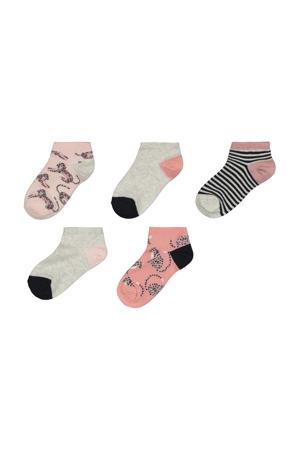 sokken - set van 5 roze/grijs