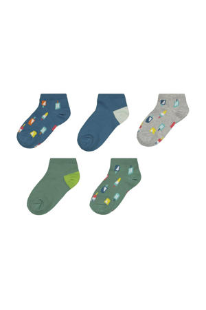 sokken - set van 5 groen/blauw