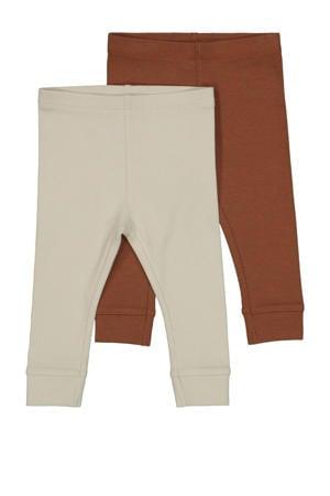 legging - set van 2 ecru/bruin