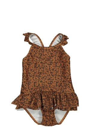badpak met ruches en panterprint bruin/zwart