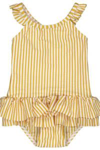 HEMA gestreept badpak met ruches geel/wit, Geel/wit