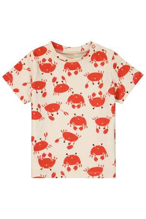 T-shirt met all over print ecru/rood