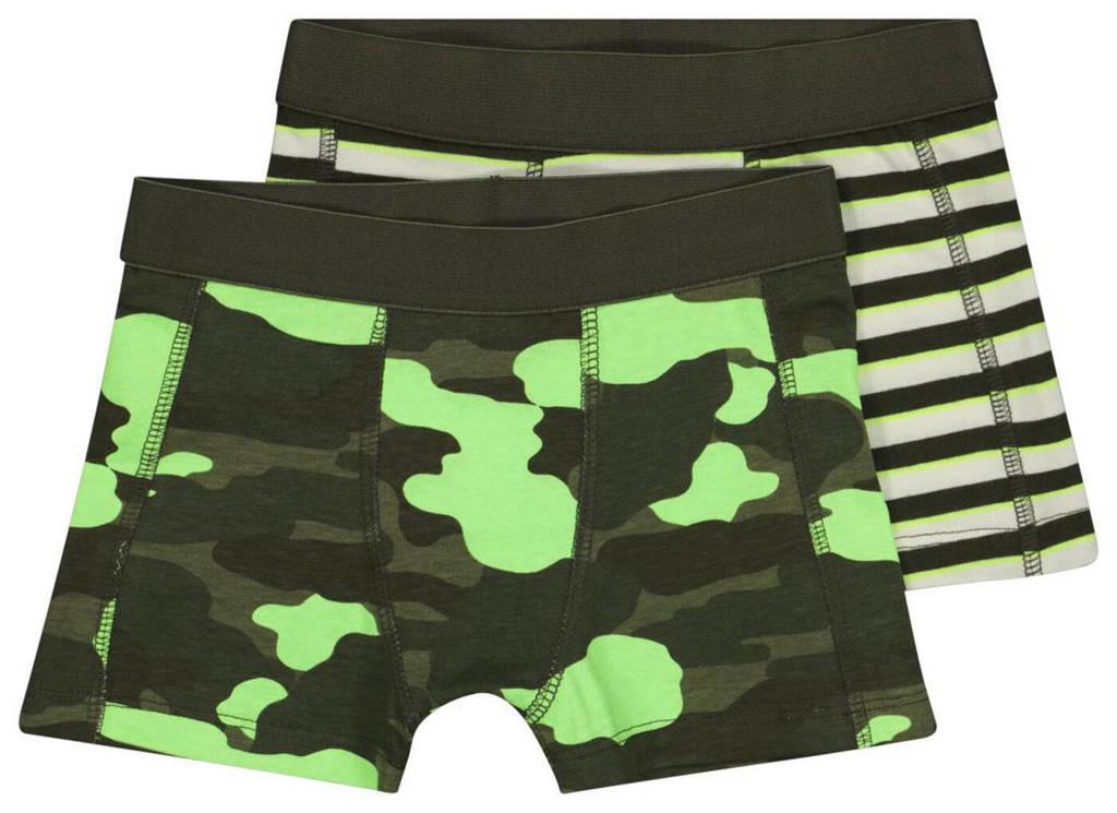 HEMA   boxershort - set van 2 camouflageprint/streep groen/neon groen, Groen/neon groen