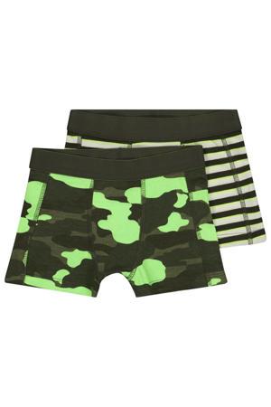 boxershort - set van 2 camouflageprint/streep groen/neon groen