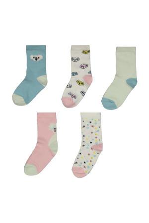 sokken - set van 5 lichtblauw/roze