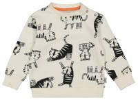 HEMA sweater met dierenprint ecru/zwart, Ecru/zwart