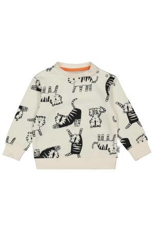 sweater met dierenprint ecru/zwart