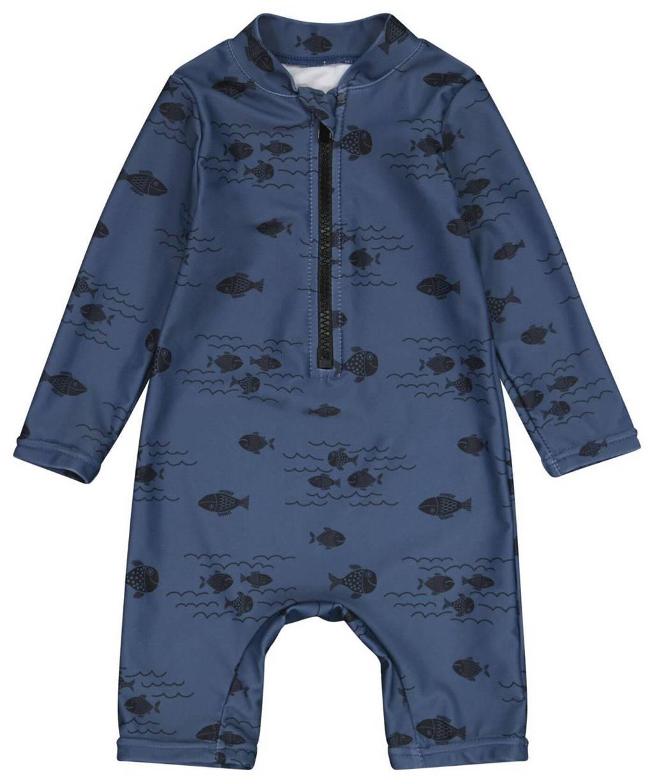 HEMA UV baby zwempak vissenprint donkerblauw, Donkerblauw