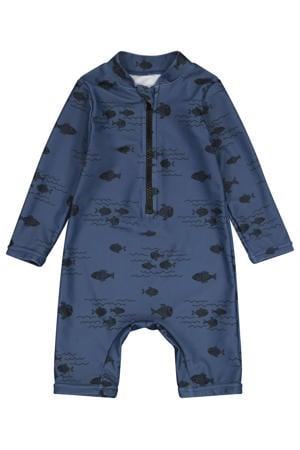UV baby zwempak vissenprint donkerblauw