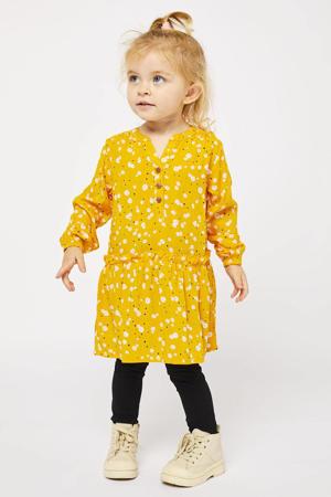 gebloemde jurk geel/wit/roze/zwart