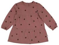 HEMA baby jurk met stippen en plooien oudroze/zwart, Oudroze/zwart