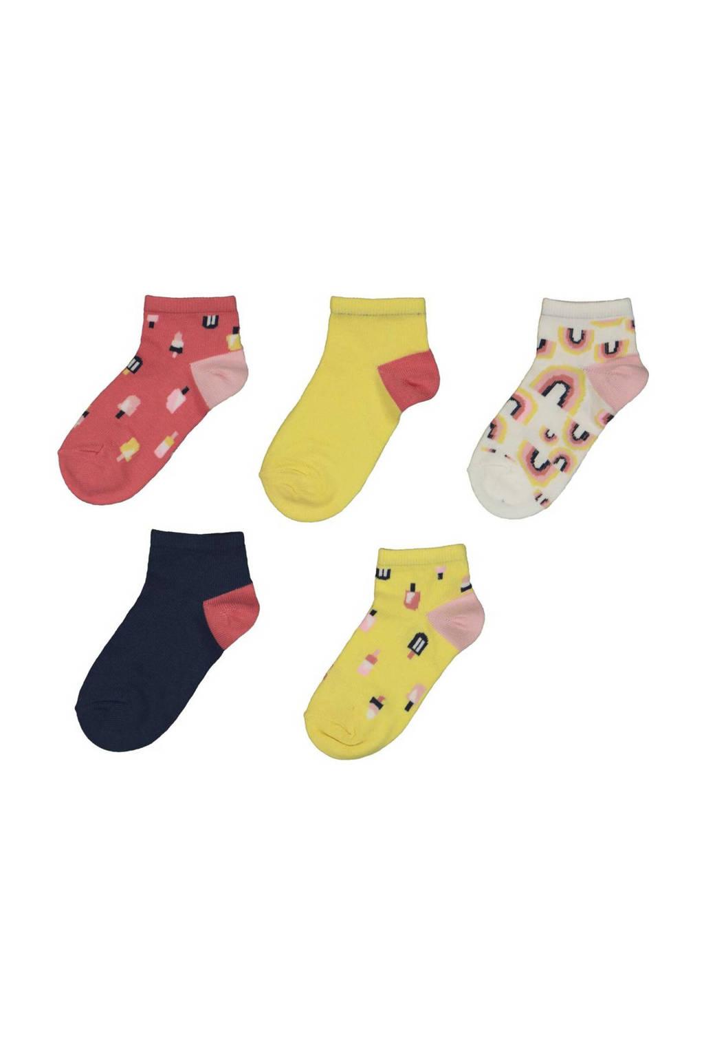 HEMA sokken - set van 5 geel/rood, Geel/rood