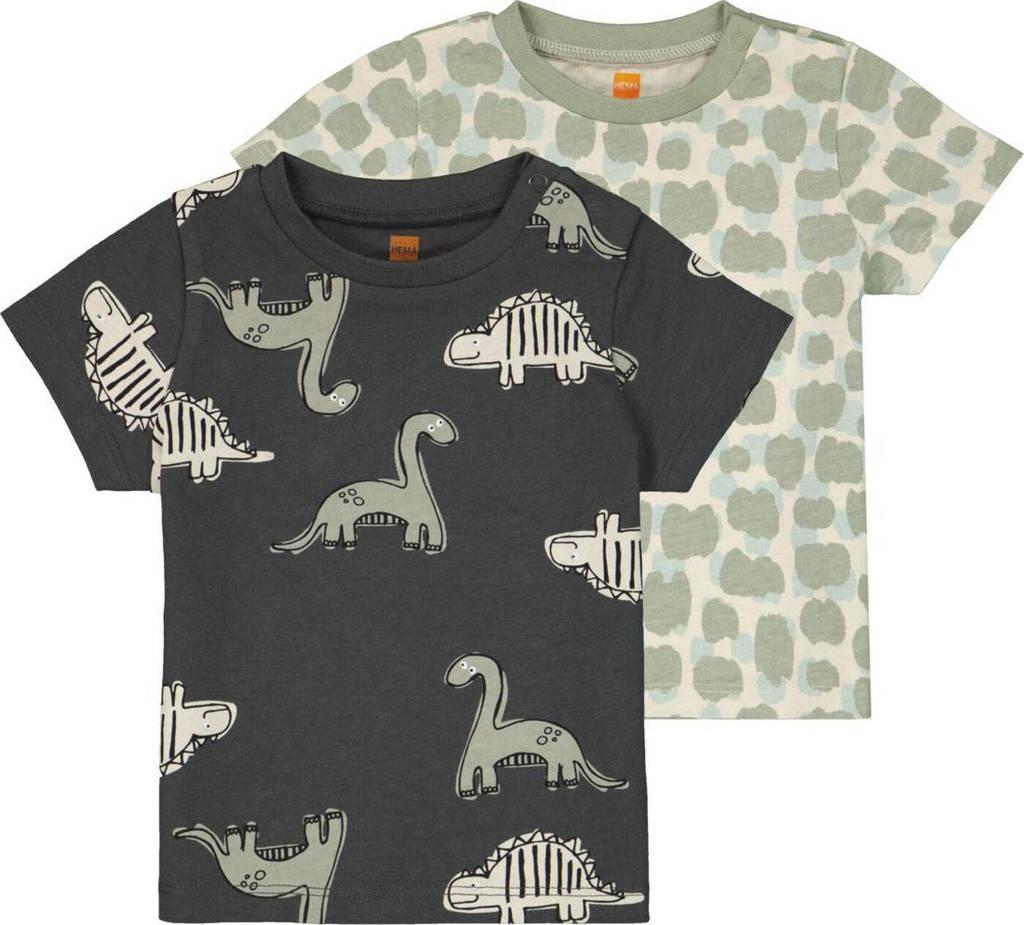 HEMA T-shirt - set van 2 met all over print grijs/groen, Groen/grijs