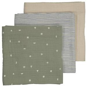hydrofiele luier - set van 3 60x60 cm groen/beige