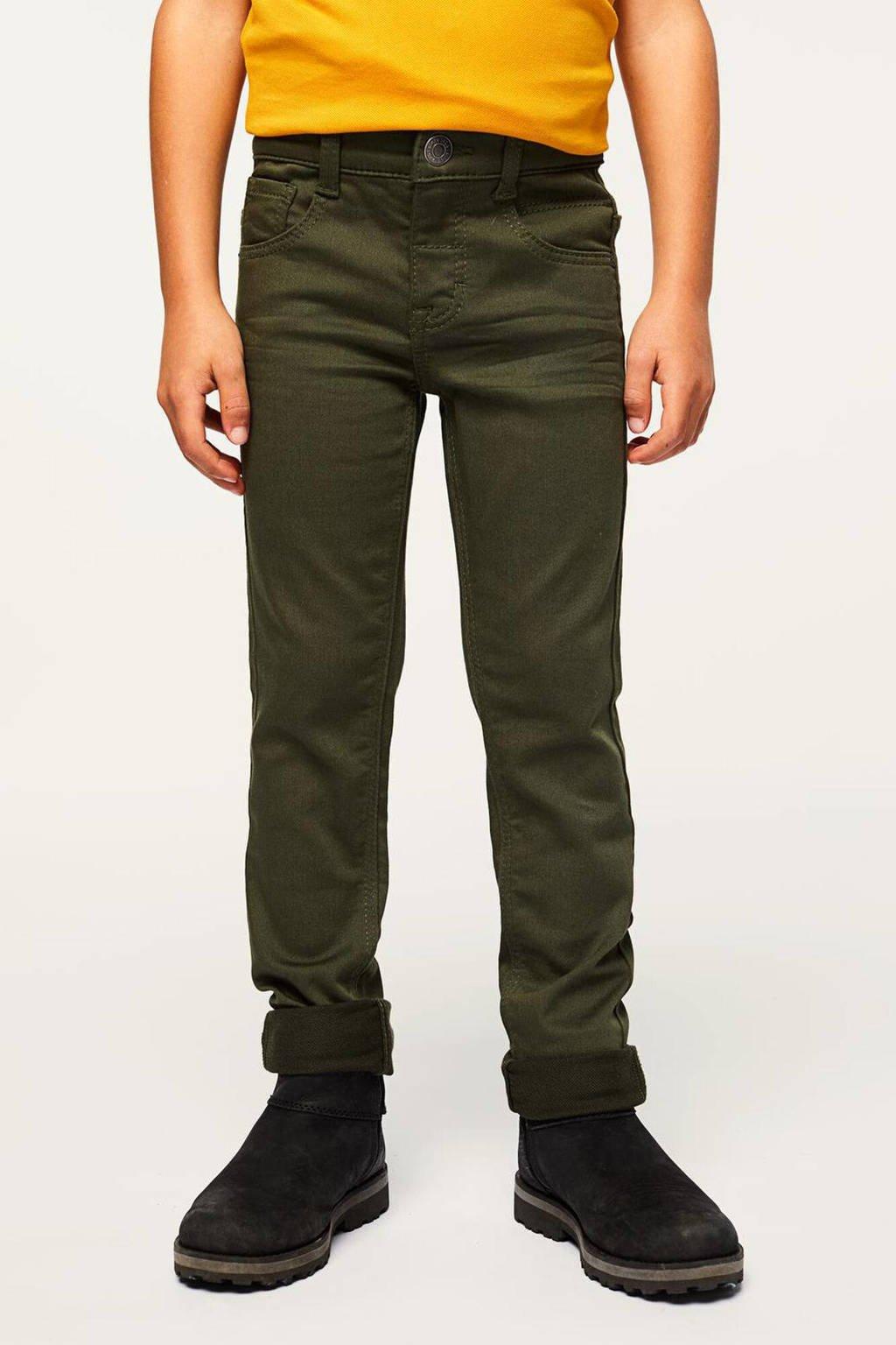 HEMA skinny broek Pax groen, Groen