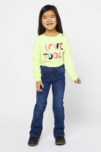 HEMA sweater Sarah met tekst en 3D applicatie limegroen multi, Limegroen multi