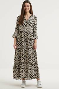 Smashed Lemon maxi jurk met all over print ecru/zwart, Ecru/zwart