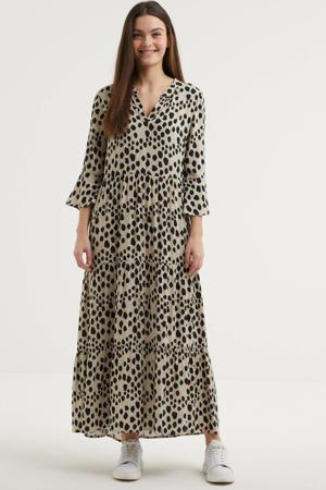 maxi jurk met all over print ecru/zwart