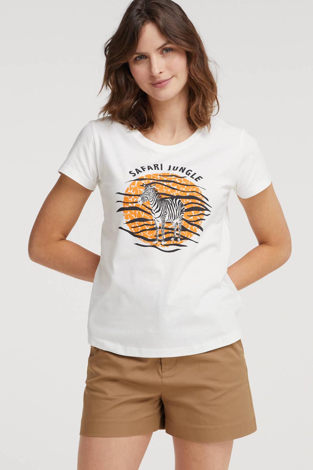 Smashed Lemon T-shirt met printopdruk wit, Wit