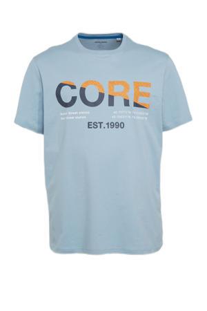 T-shirt Slices Plus Size met logo dusty blue