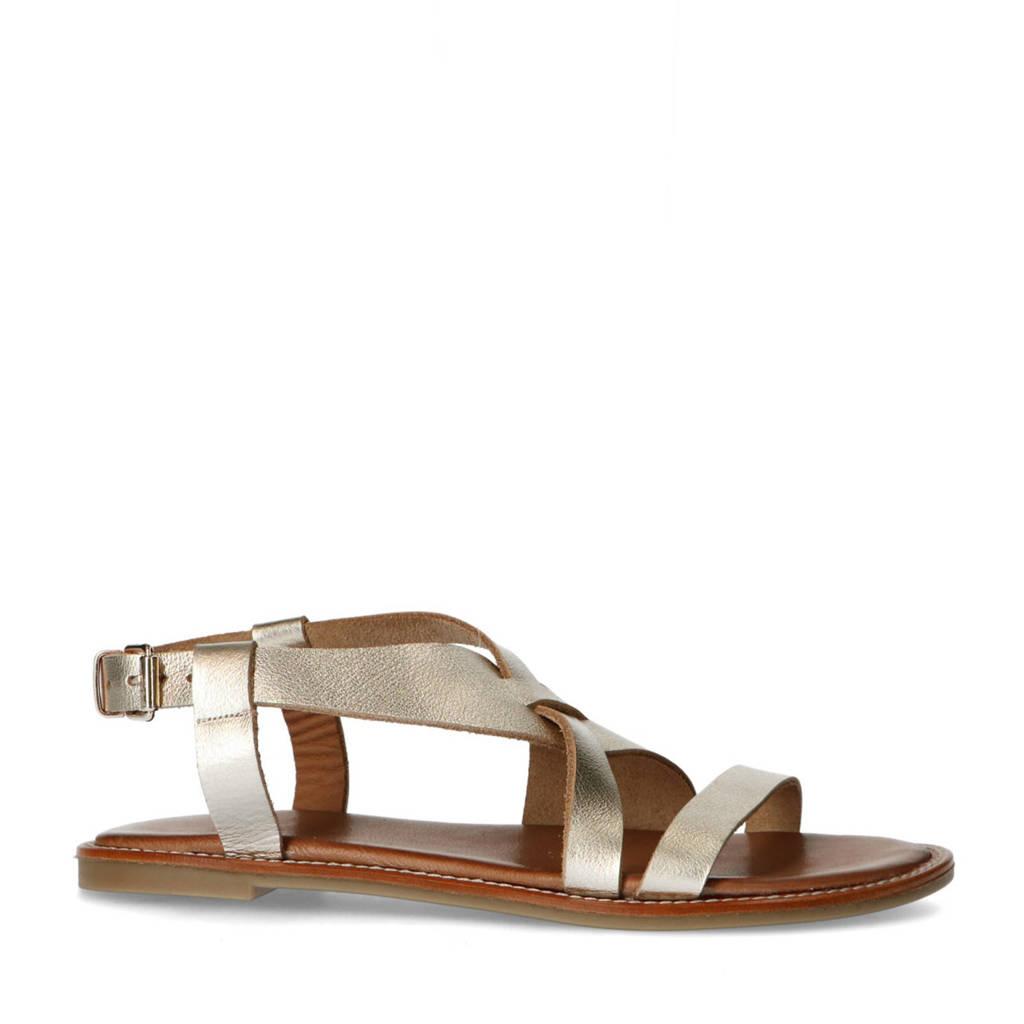 Manfield   leren sandalen goud, Goud
