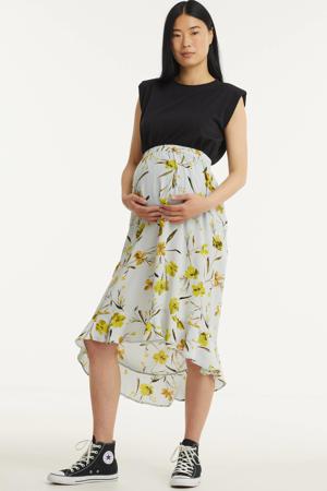 zwangerschapsrok Lillian met all over print en plooien lichtblauw/geel