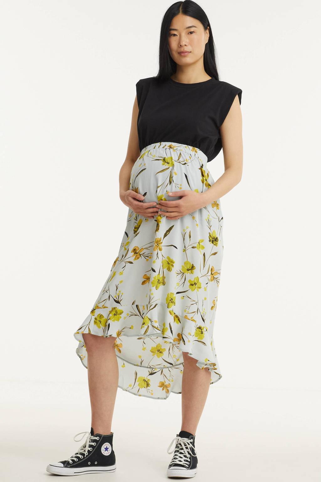 PIECES Maternity zwangerschapsrok PCMLILLIAN met all over print en plooien lichtblauw/geel, Lichtblauw/geel