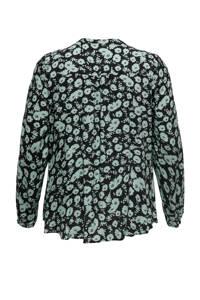 ONLY CARMAKOMA blouse met all over print zwart/blauw, Zwart/blauw