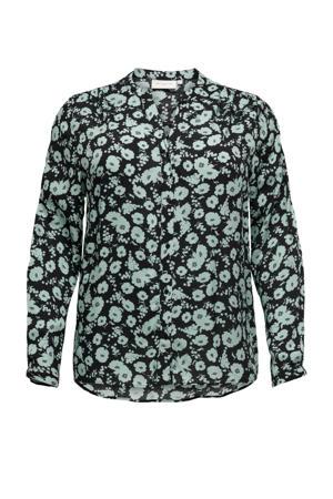 blouse met all over print zwart/blauw