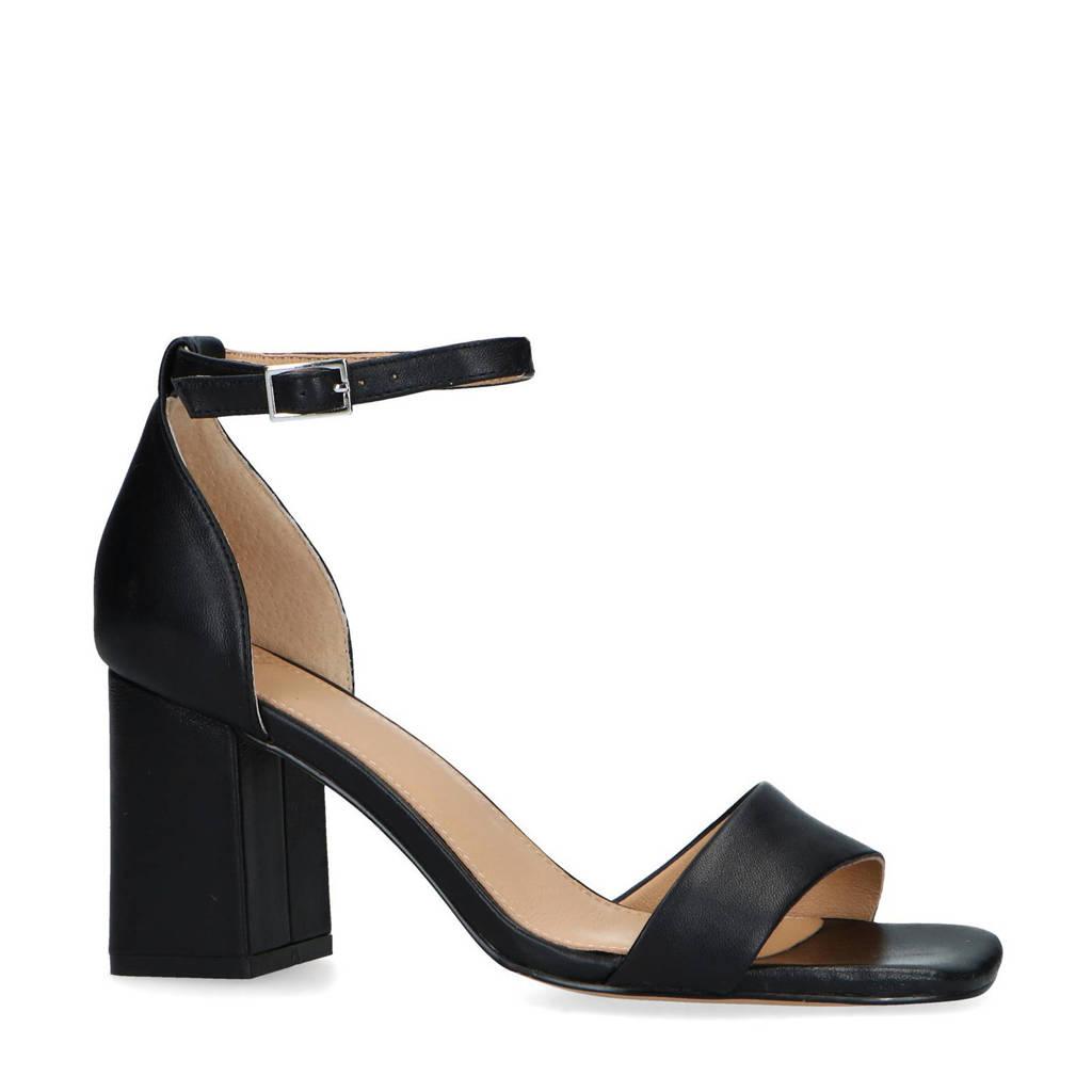 Manfield   leren sandalettes zwart, Zwart