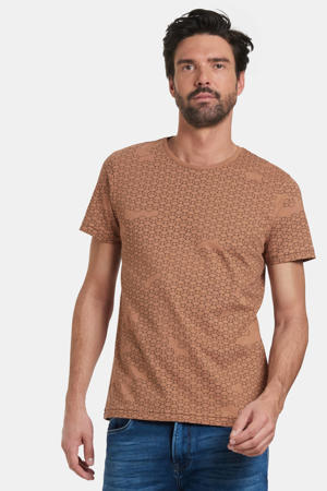 T-shirt Tanner met all over print lichtbruin