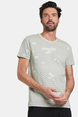 T-shirt Tanner met all over print lichtgroen