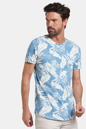 T-shirt Tristan met all over print blauw/wit
