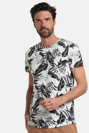 T-shirt Tristan met all over print wit/zwart