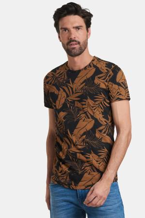 T-shirt Tristan met all over print zwart/bruin